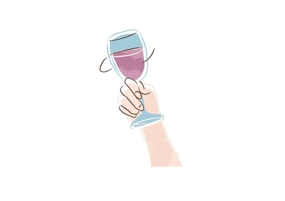 手書きイラスト無料 赤ワインを持つ手 右