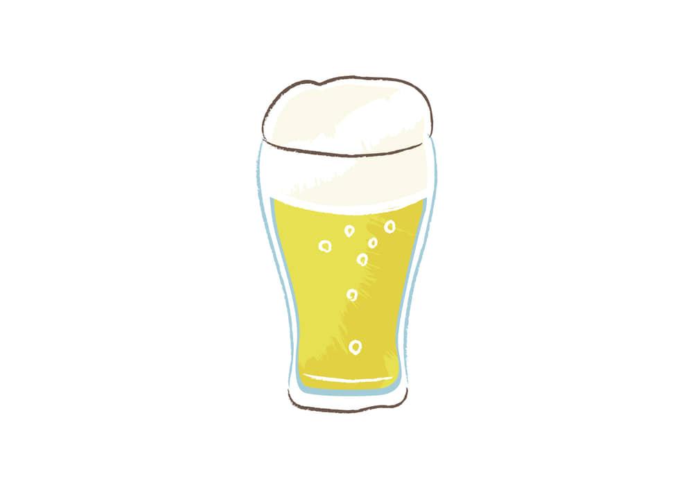 手書きイラスト無料|ビール グラス