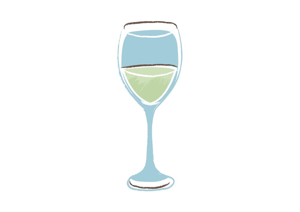 手書きイラスト無料|白ワイン グラス