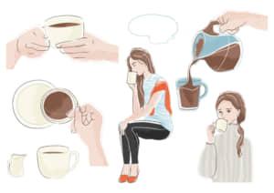 コーヒータイム シーン セット イラスト 無料