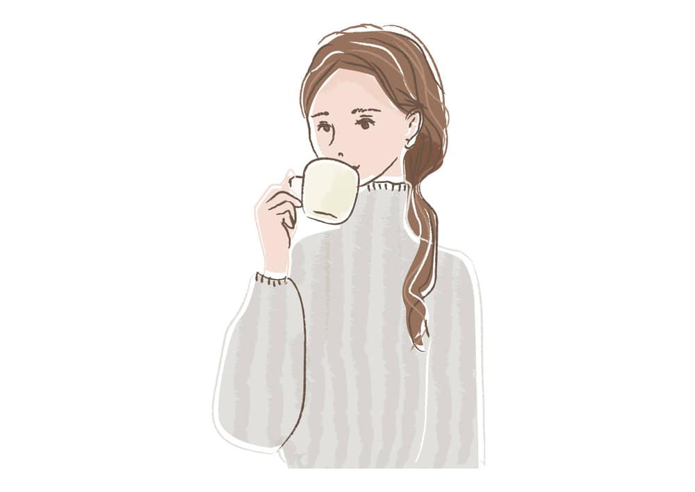手書きイラスト無料 コーヒーを飲む女性 上半身