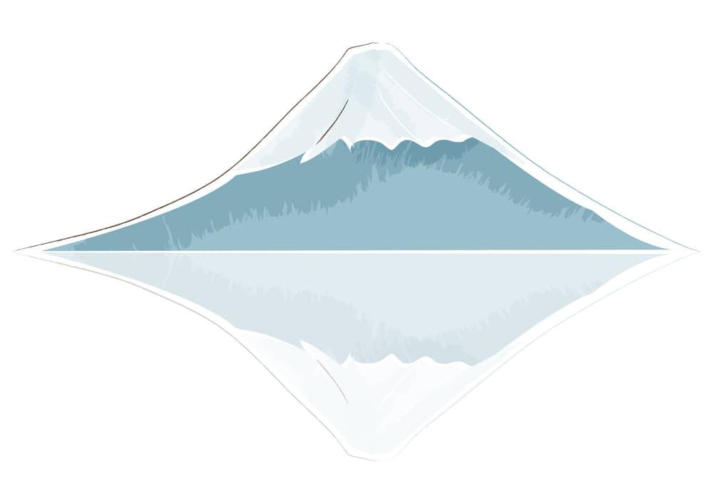 お正月イラスト無料|富士 水面反射 手書き
