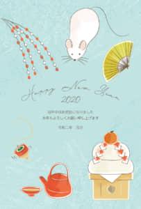 年賀状 ねずみ 水色 ラフなデザイン 縦型 イラスト 無料
