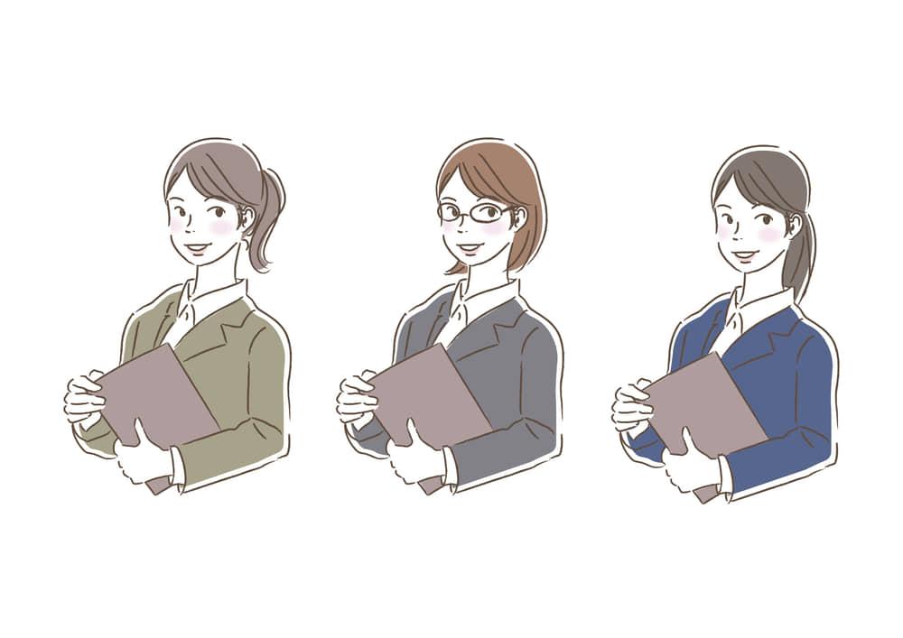 シンプルイラスト|ビジネス 企画書を持つ女性