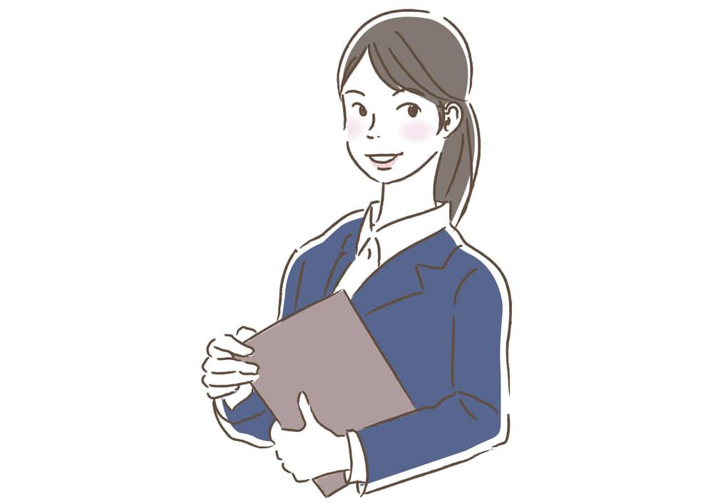 シンプルイラスト無料|ビジネス 企画書を持つ女性1 一人