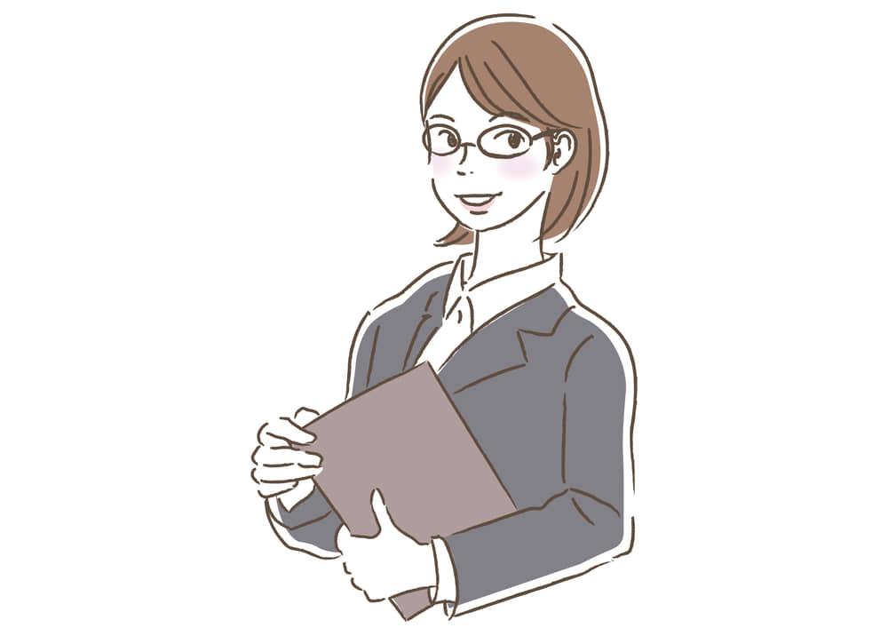 シンプルイラスト無料|ビジネス 企画書を持つ女性2 一人