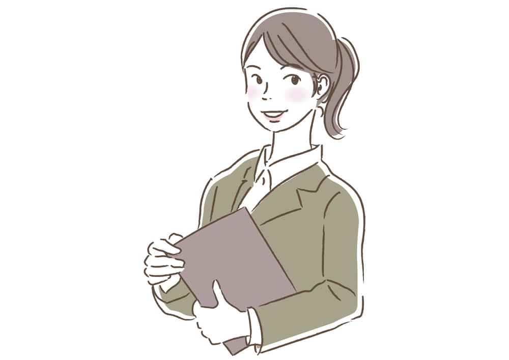 シンプルイラスト|ビジネス 企画書を持つ女性3 一人