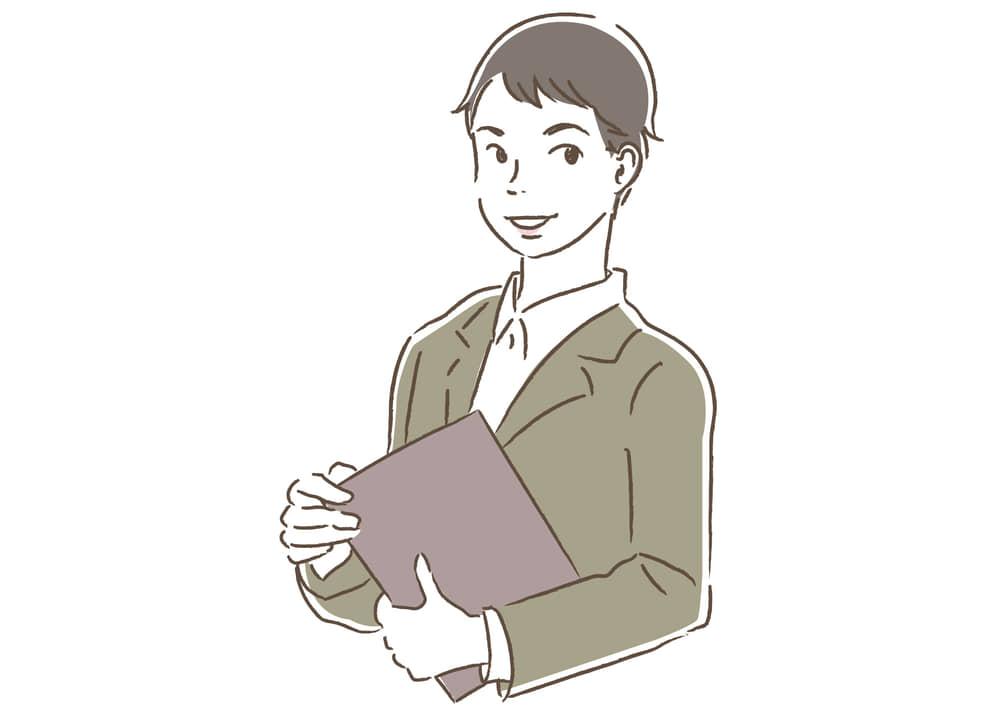 シンプルイラスト無料|ビジネス 企画書を持つ男性1 一人