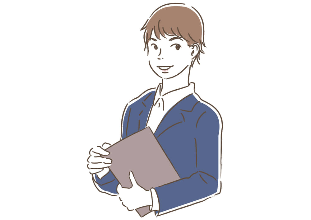 シンプルイラスト無料|ビジネス 企画書を持つ男性2 一人