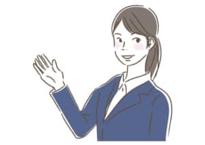 ビジネス 女性1 一人 案内 イラスト 無料