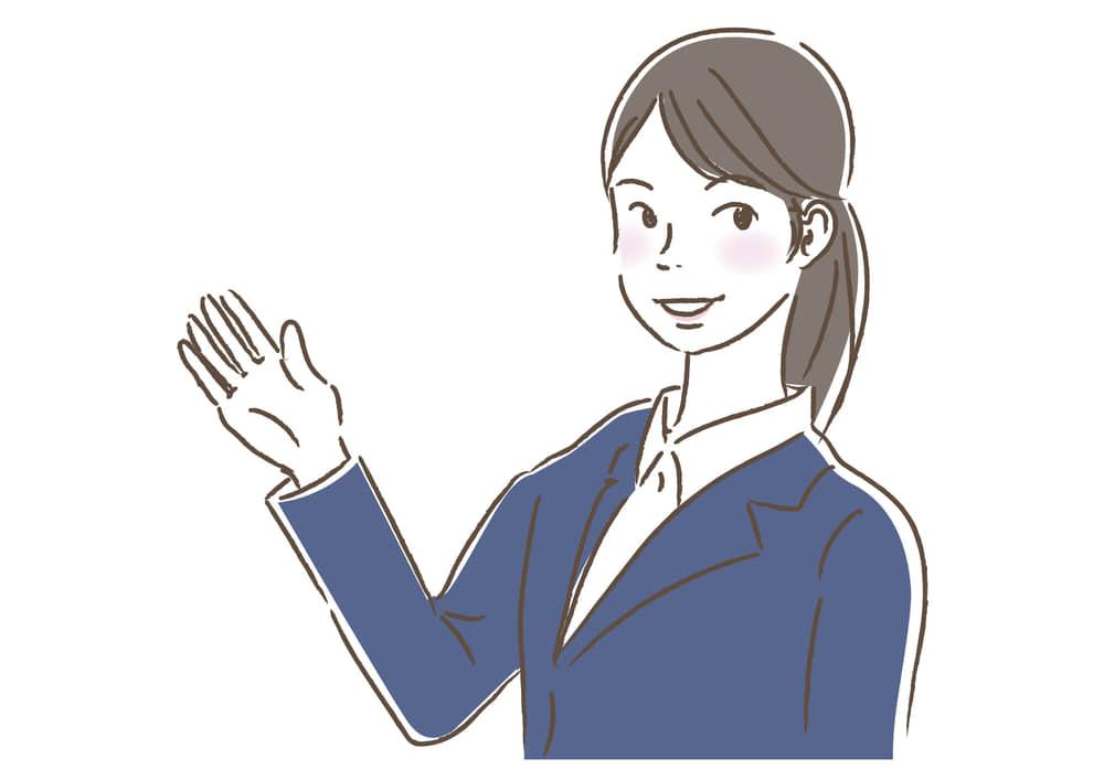 シンプルイラスト無料 ビジネス 女性1 一人 案内 公式 イラストダウンロード