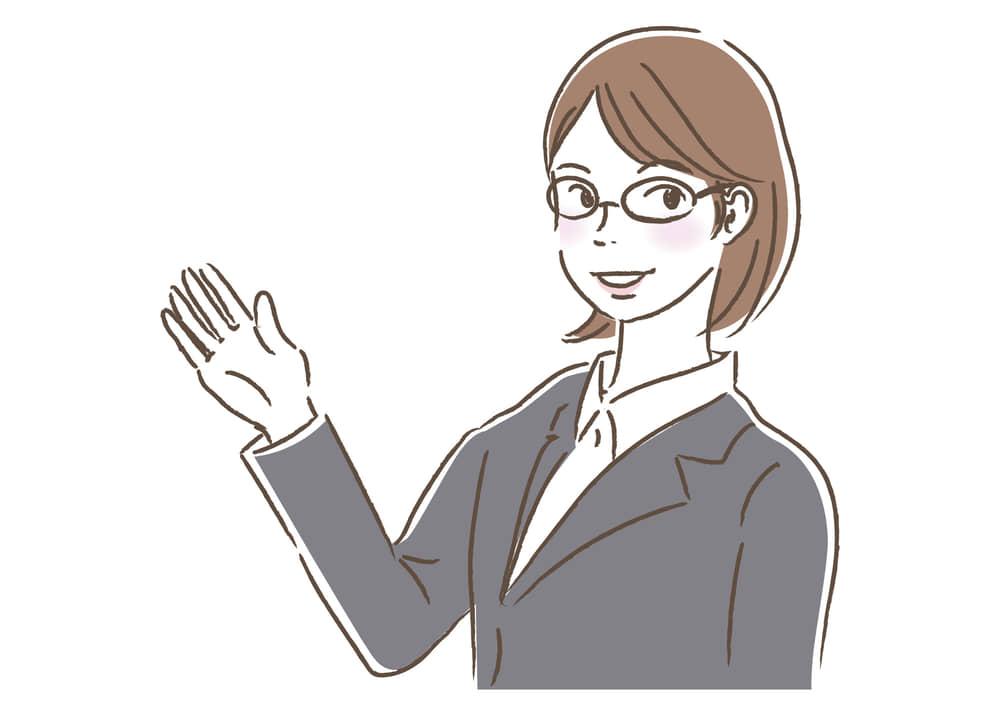 シンプルイラスト|ビジネス 女性2 一人 案内