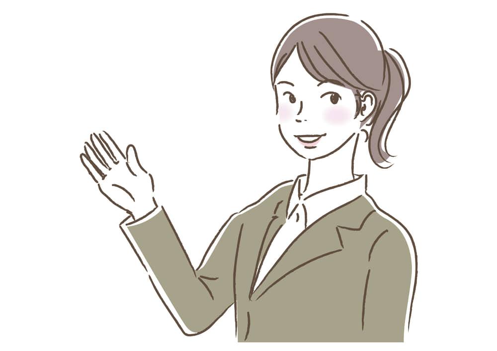 シンプルイラスト無料|ビジネス 女性3 一人 案内