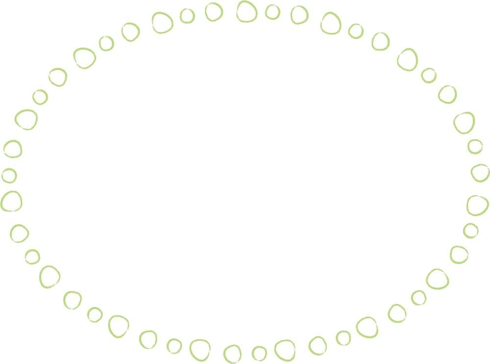 可愛いイラスト無料|手書き 吹き出し 小さな丸 緑色
