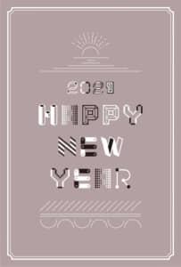 年賀状2021デザイン|文字と線 かわいい 茶色 縦型 イラストデータ
