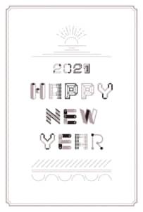年賀状2021デザイン|文字と線 かわいい 白色 縦型 イラストデータ