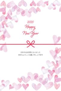 年賀状 水彩のハート ピンク 縦型 イラスト 無料
