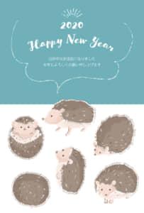 年賀状 かわいい ハリネズミ 青色 縦型 イラスト 無料