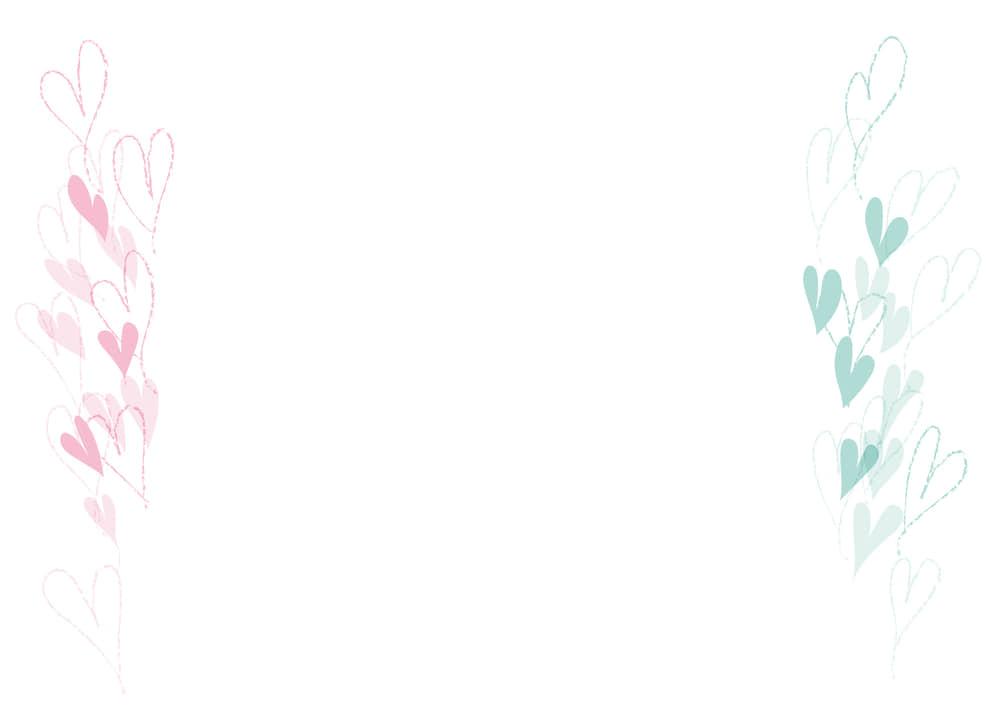 可愛いイラスト無料|ハート 左右 ピンク色 水色