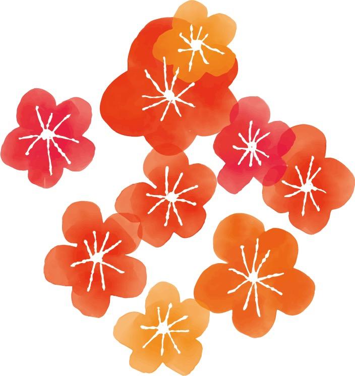 年賀状2020デザイン|水彩 にじみ 梅の花