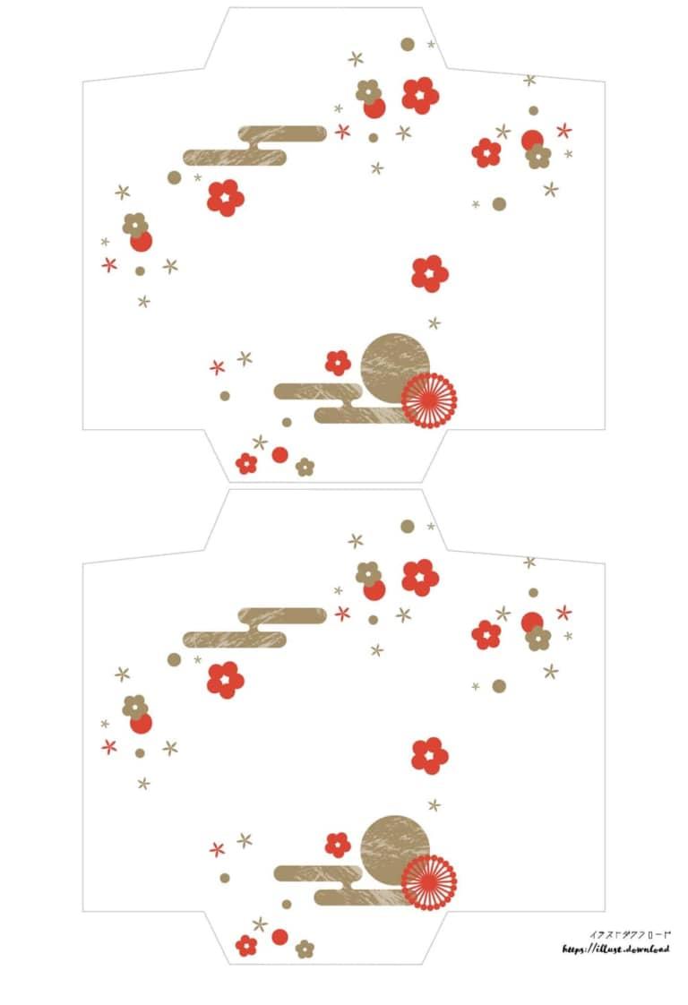 ポチ袋テンプレート無料|和柄 花 雲