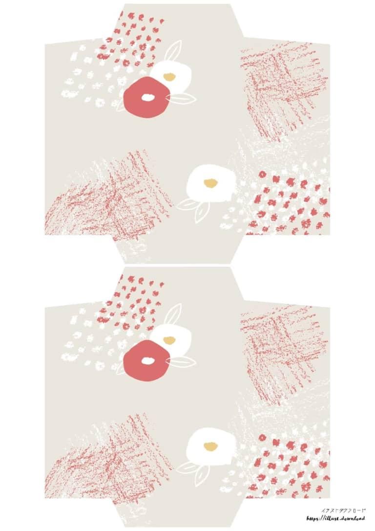 ポチ袋テンプレート無料 手書き 椿の花 ラフなデザイン