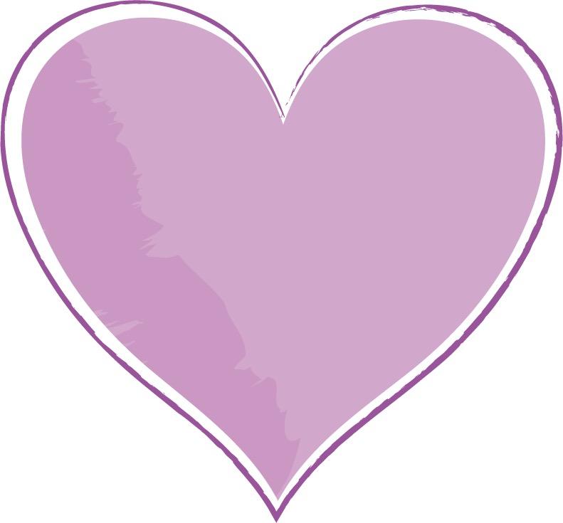 可愛いイラスト無料|手書き ハート 紫色