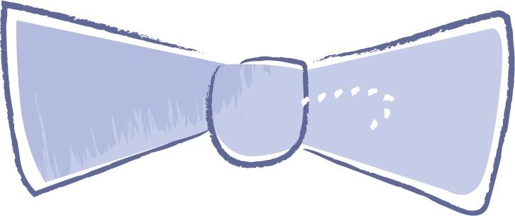 可愛いイラスト無料|手書き 蝶ネクタイ 青色