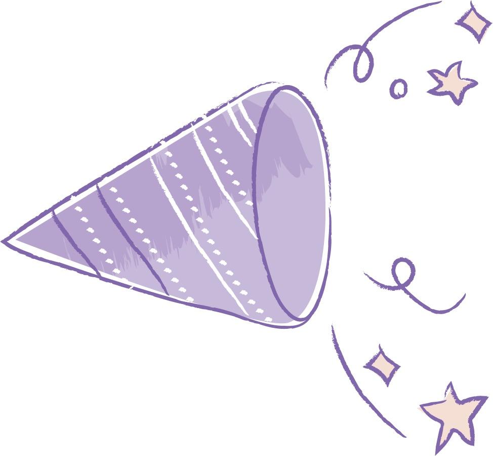 可愛いイラスト無料|手書き クラッカー 紫色