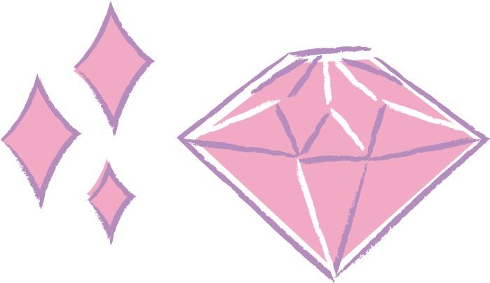 可愛いイラスト|手書き ピンクダイヤモンド