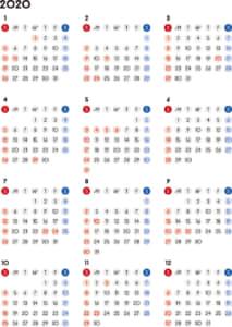 カレンダー 2020 無料|シンプルなカレンダー 丸バージョン (日曜始まり)