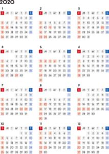 カレンダー 2020 無料|シンプルなカレンダー 四角バージョン(日曜始まり)