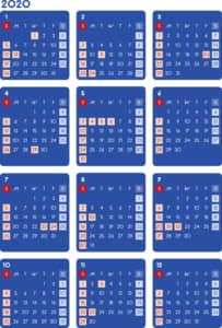 カレンダー 2020 無料|シンプルなカレンダー ダーク(日曜始まり)