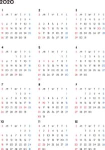 カレンダー 2020 無料|シンプルなカレンダー 背景なし(日曜始まり)