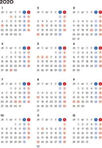 カレンダー 2020 無料|シンプルなカレンダー 丸バージョン(月曜始まり)