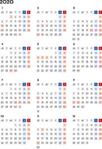 カレンダー 2020 無料|シンプルなカレンダー 四角バージョン(月曜始まり)