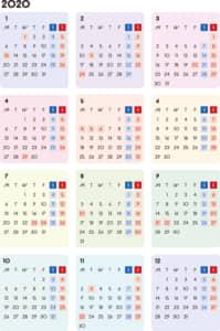 カレンダー 2020 無料|シンプルなカレンダー カラフル(月曜始まり)
