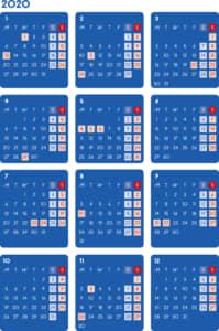 カレンダー 2020 無料|シンプルなカレンダー ダーク(月曜始まり)