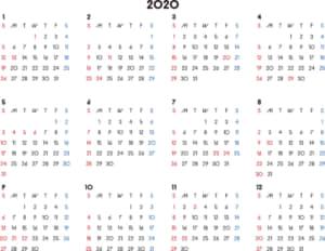 カレンダー 2020 無料|シンプルなカレンダー 横型(日曜始まり)