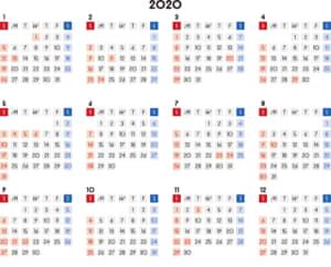 カレンダー 2020 無料|シンプルなカレンダー 四角バージョン 横型(日曜始まり)