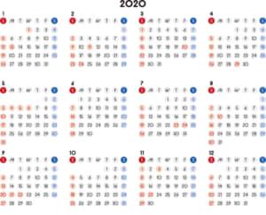 カレンダー 2020 無料|シンプルなカレンダー 丸バージョン 横型(日曜始まり)