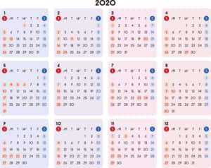 カレンダー 2020 無料|シンプルなカレンダー カラフル 横型(日曜始まり)