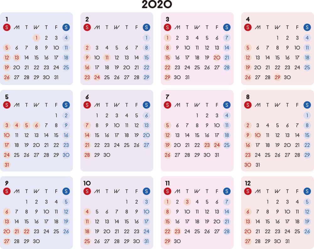 カレンダー 2020 無料|シンプルなカレンダー A4 カラフル 横型(日曜始まり)