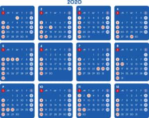 カレンダー 2020 無料|シンプルなカレンダー ダーク 横型(日曜始まり)