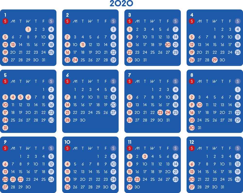 カレンダー 2020 無料|シンプルなカレンダー A4 ダーク 横型(日曜始まり)