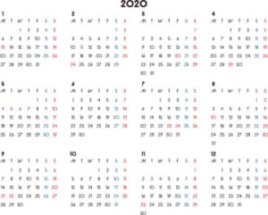 カレンダー 2020 無料|シンプルなカレンダー 横型(月曜始まり)