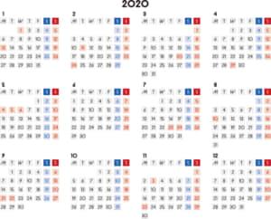 カレンダー 2020 無料|シンプルなカレンダー 四角バージョン 横型(月曜始まり)