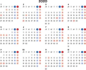カレンダー 2020 無料|シンプルなカレンダー 丸バージョン 横型(月曜始まり)