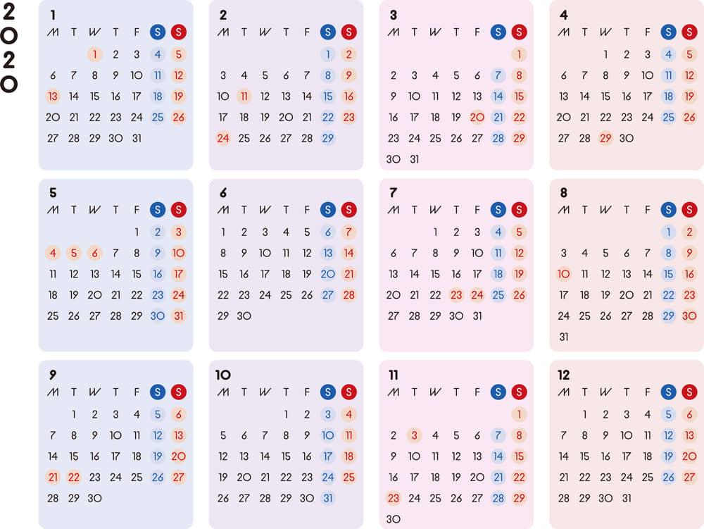 カレンダー 2020 無料|シンプルなカレンダー カラフル 横型(月曜始まり)