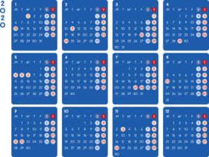 カレンダー 2020 無料|シンプルなカレンダー ダーク 横型(月曜始まり)